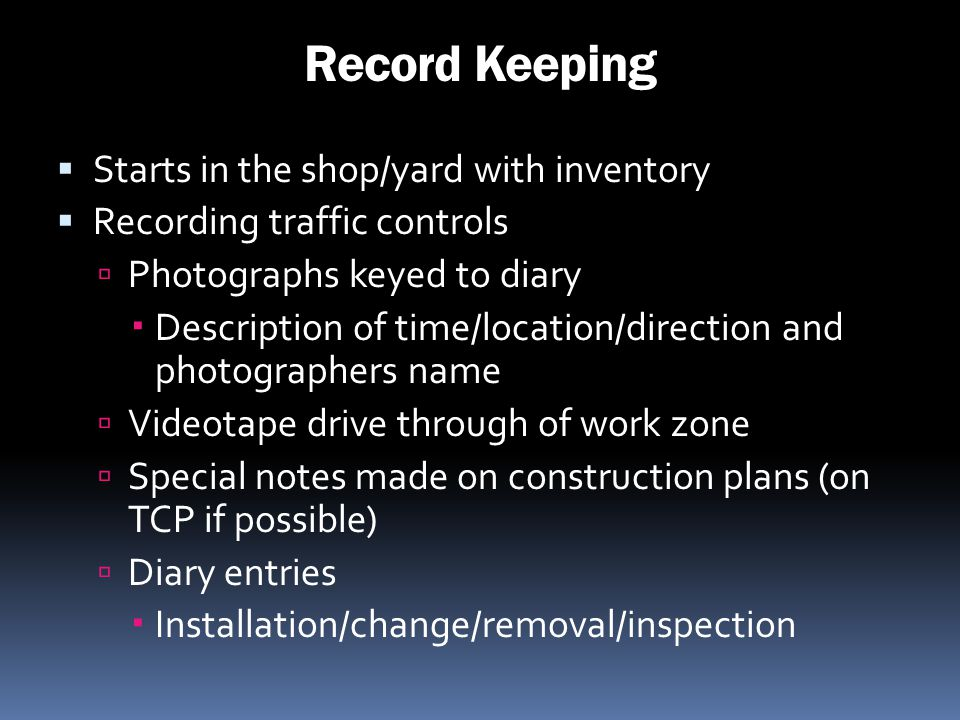 Record Keeping Starts in the shop/yard with inventory