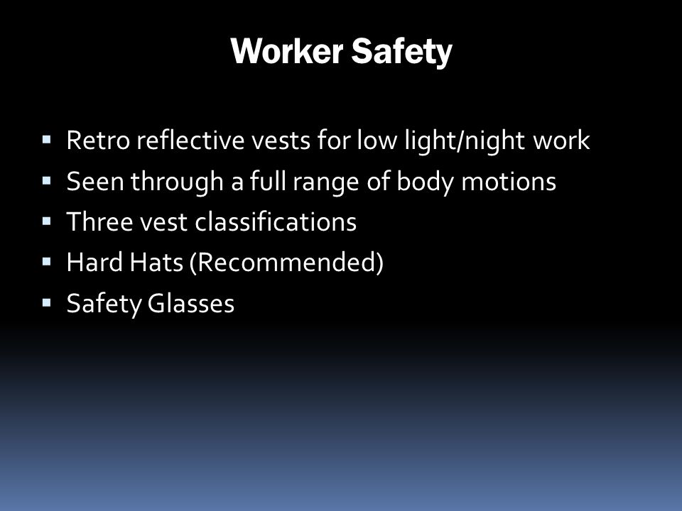 Worker Safety Retro reflective vests for low light/night work