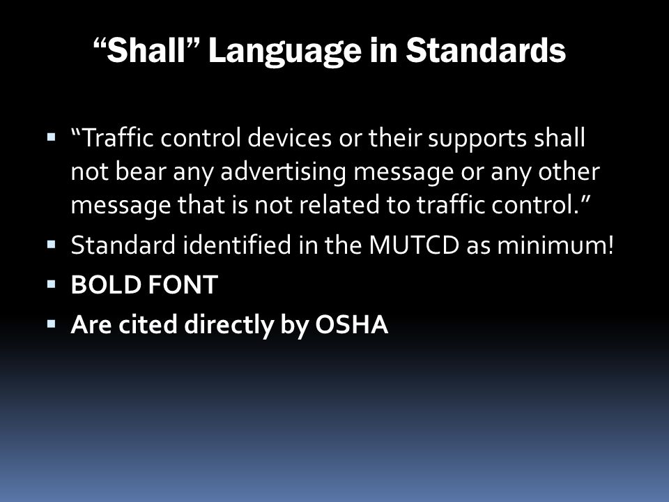 Shall Language in Standards
