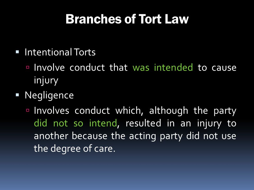 Branches of Tort Law Intentional Torts