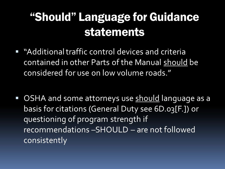 Should Language for Guidance statements