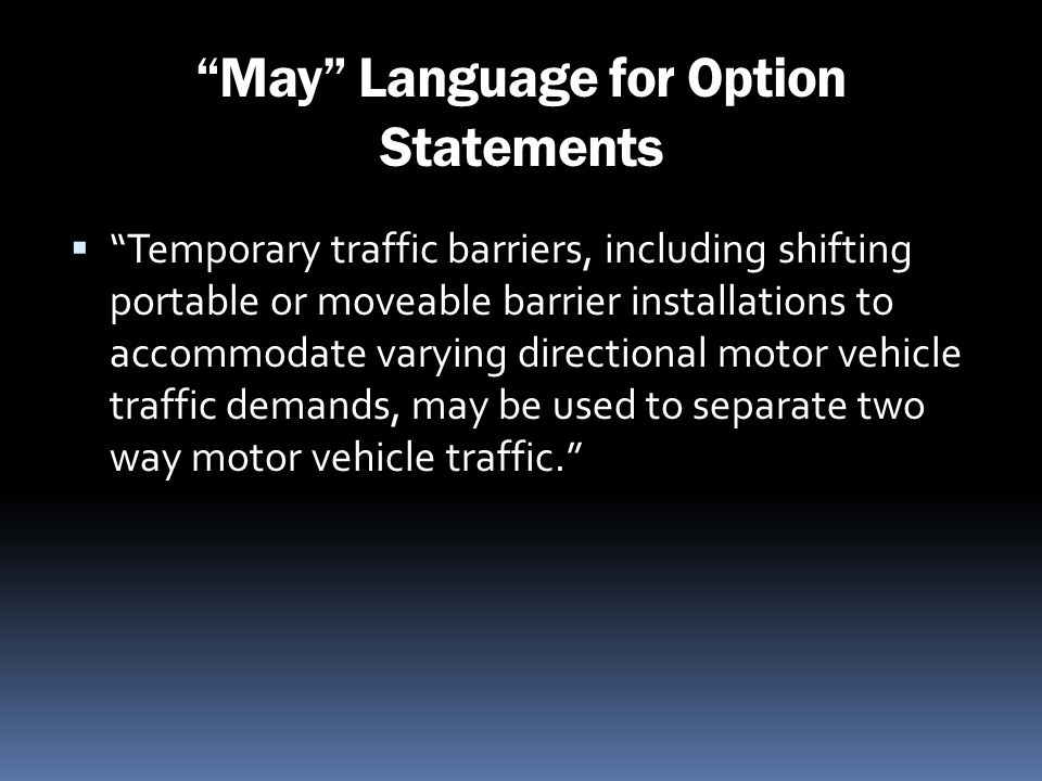 May Language for Option Statements