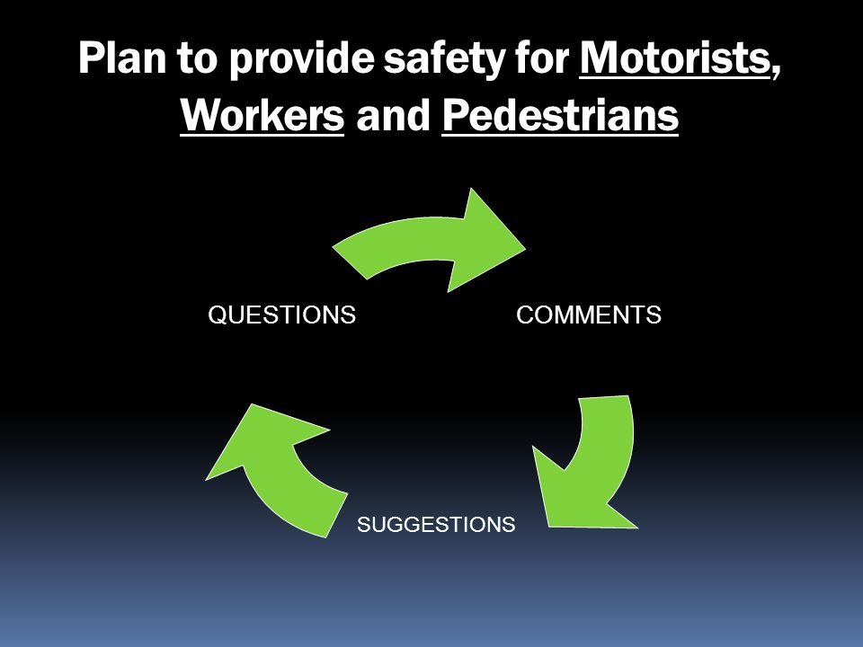 Plan to provide safety for Motorists, Workers and Pedestrians
