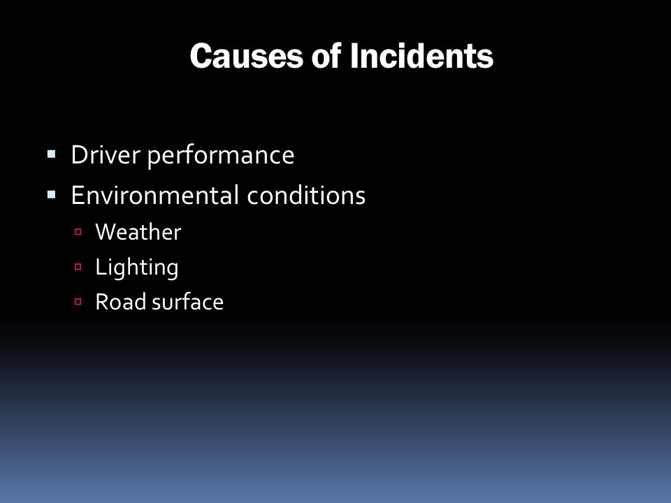 Causes of Incidents Driver performance Environmental conditions