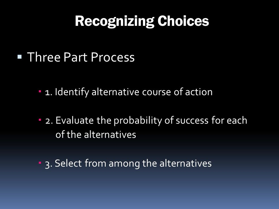 Recognizing Choices Three Part Process