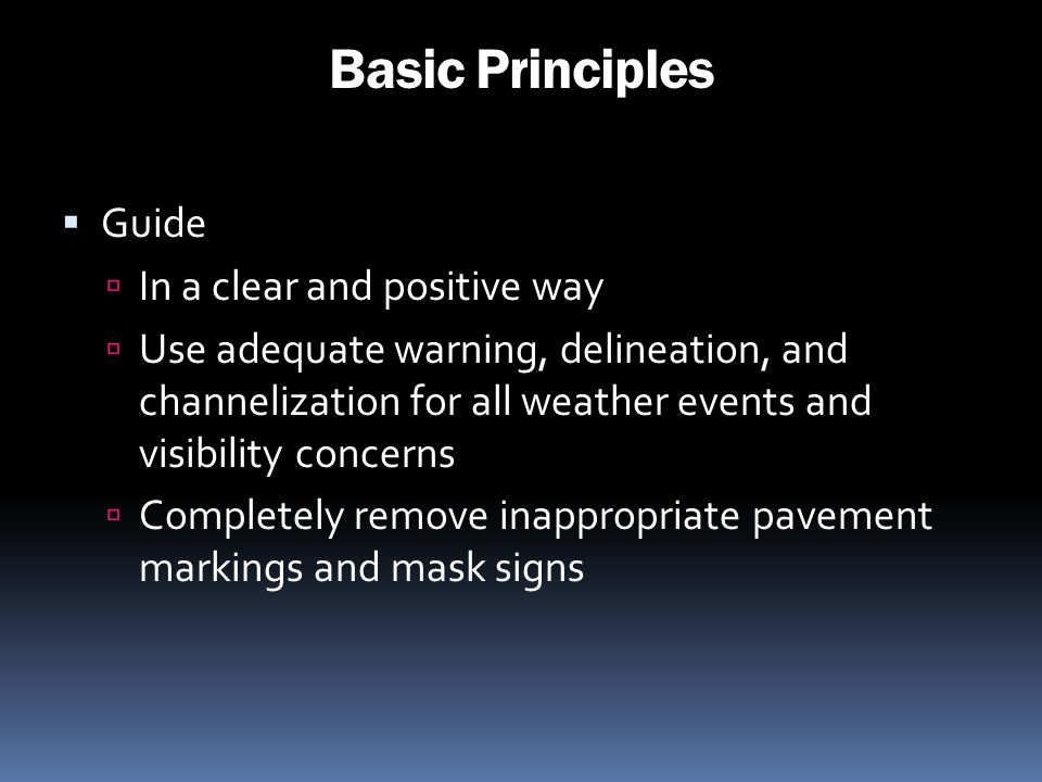 Basic Principles Guide In a clear and positive way