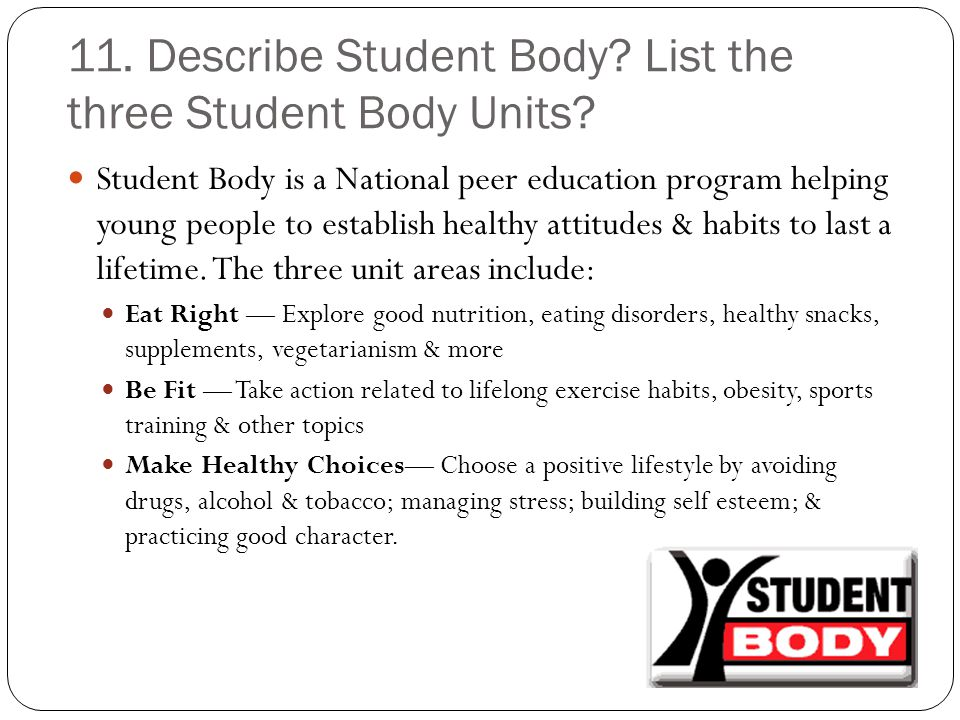 11. Describe Student Body List the three Student Body Units