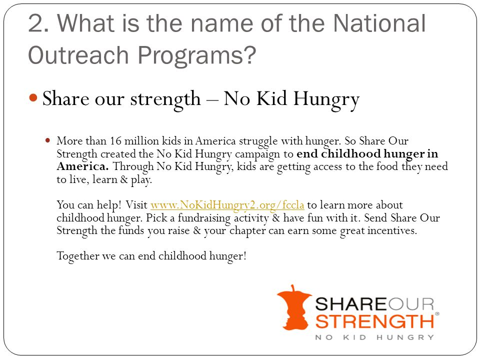 2. What is the name of the National Outreach Programs