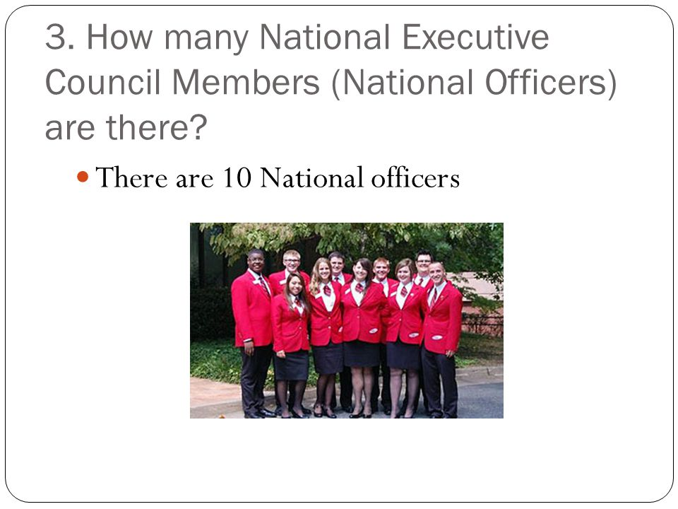 3. How many National Executive Council Members (National Officers) are there