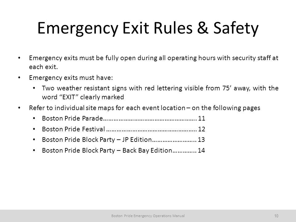 Emergency Exit Rules & Safety