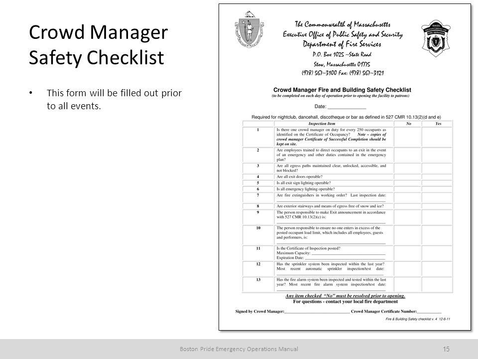 Crowd Manager Safety Checklist