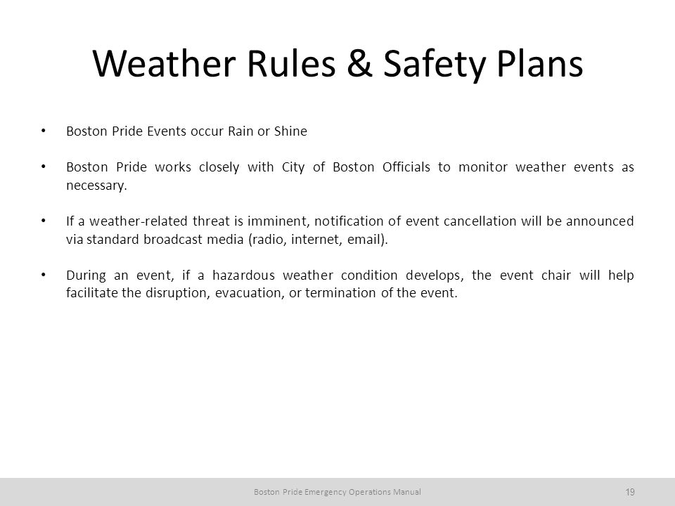 Weather Rules & Safety Plans