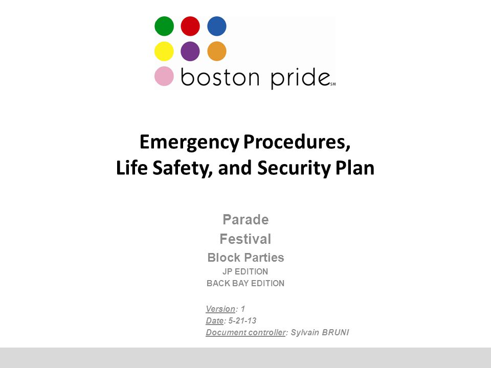 Emergency Procedures, Life Safety, and Security Plan