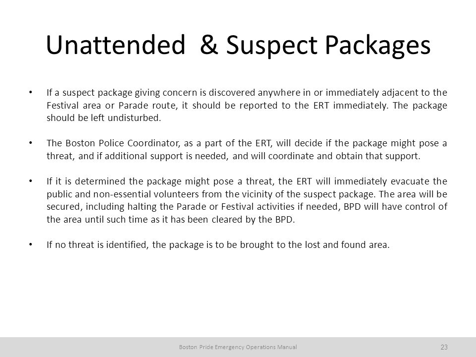 Unattended & Suspect Packages