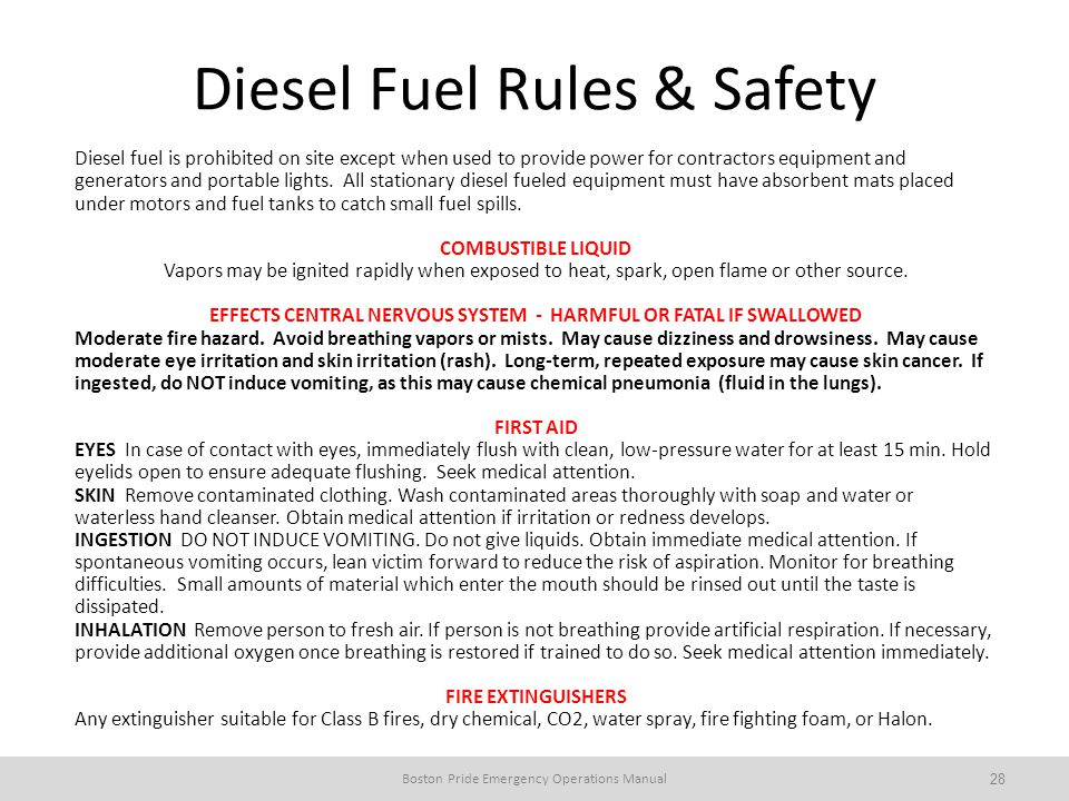 Diesel Fuel Rules & Safety