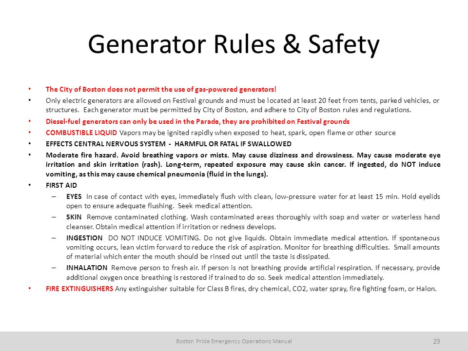 Generator Rules & Safety