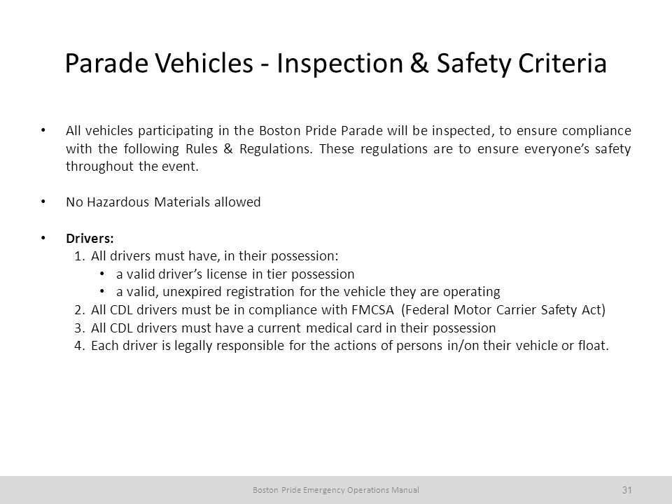 Parade Vehicles - Inspection & Safety Criteria