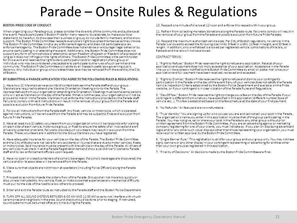 Parade – Onsite Rules & Regulations