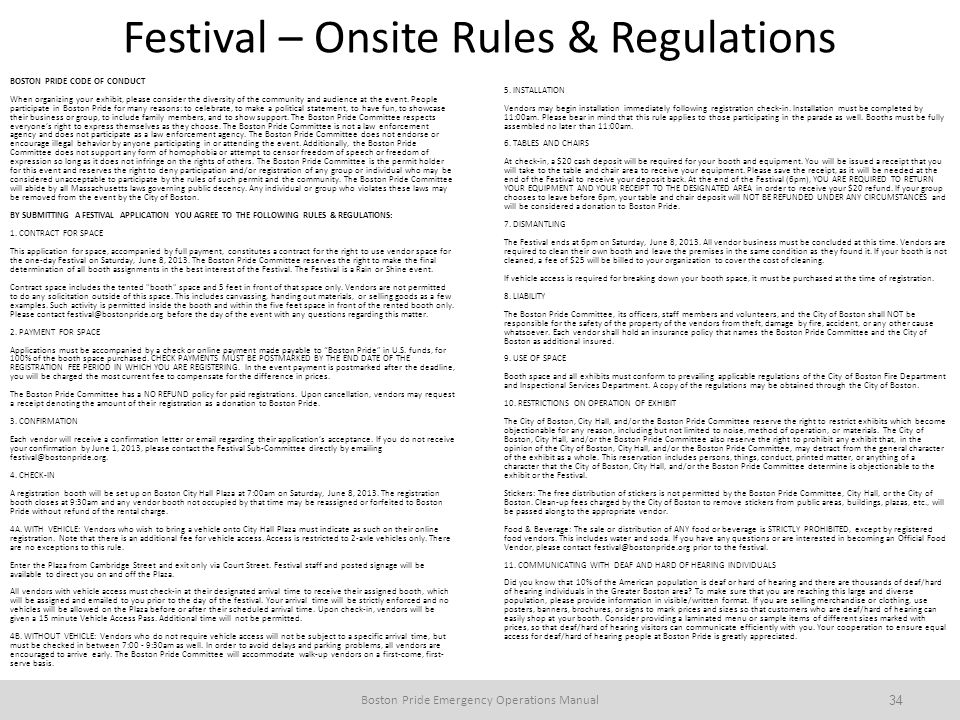 Festival – Onsite Rules & Regulations