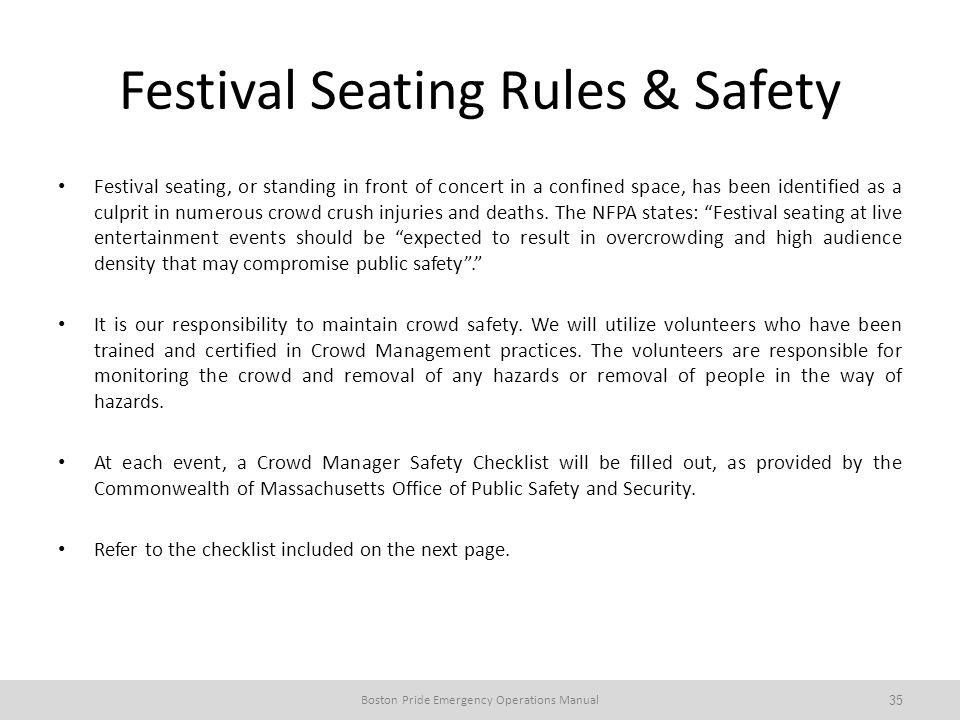 Festival Seating Rules & Safety
