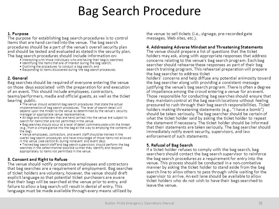 Boston Pride Emergency Operations Manual
