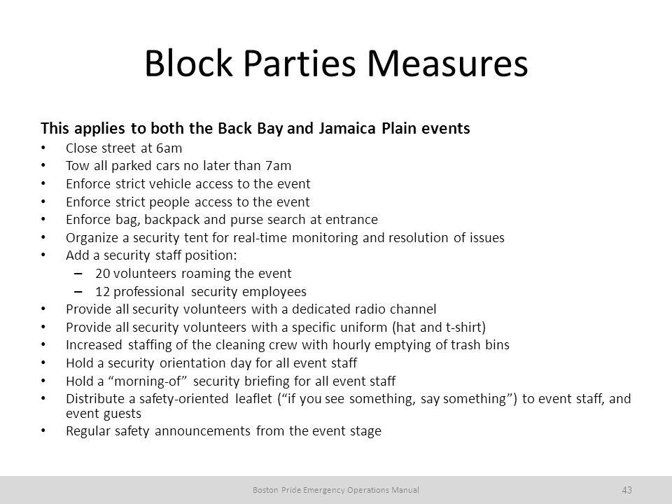 Block Parties Measures