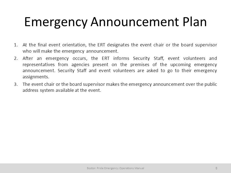 Emergency Announcement Plan