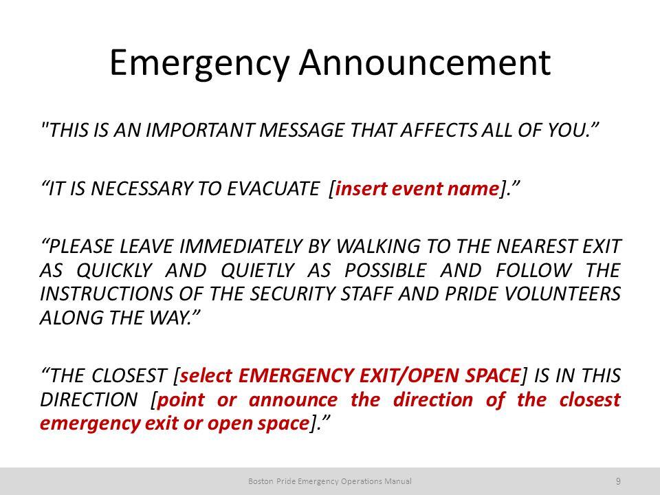 Emergency Announcement