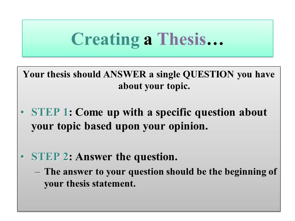 can you have a 2 sentence thesis