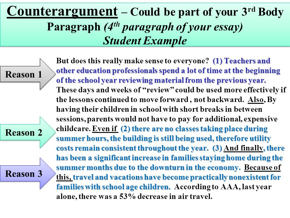 where to put a counter argument in an essay An argument essay, as with all essays, should contain three parts: the introduction, the body, and the conclusion the length of paragraphs in these parts will vary depending on the length of your essay assignment.