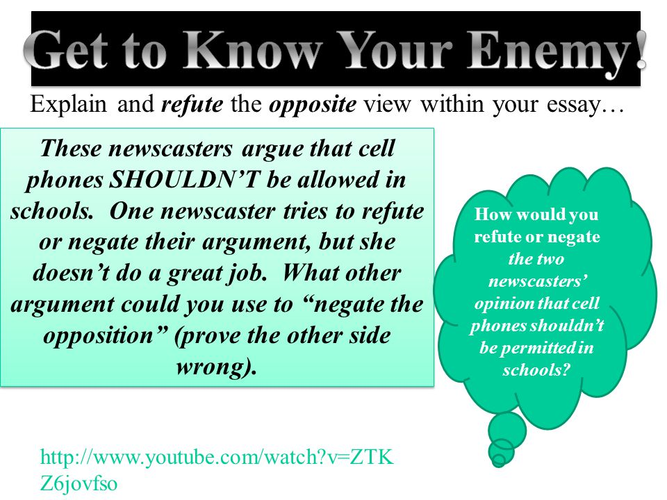 Get to Know Your Enemy! Explain and refute the opposite view within your essay…