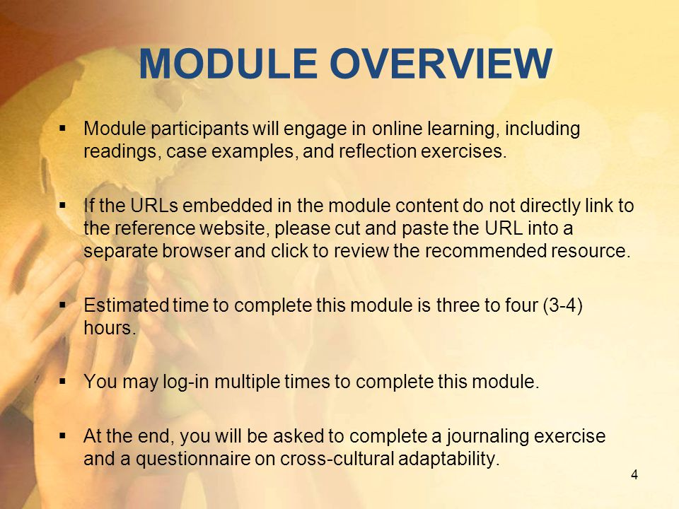 MODULE OVERVIEW Module participants will engage in online learning, including readings, case examples, and reflection exercises.