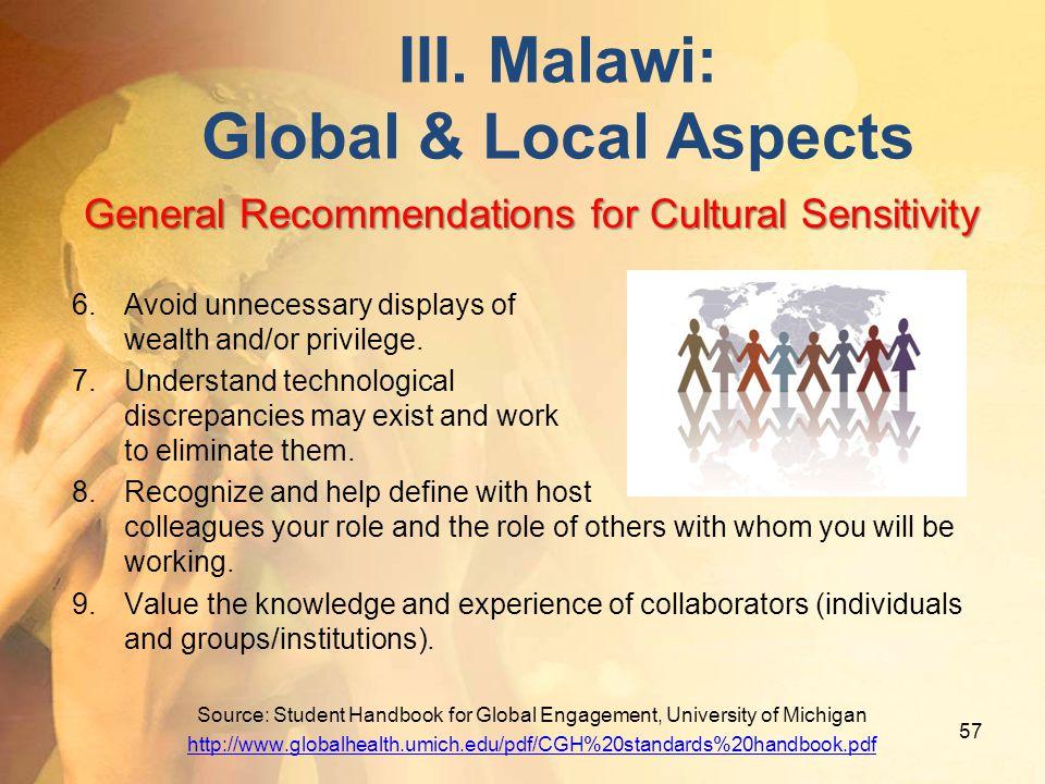 III. Malawi: Global & Local Aspects