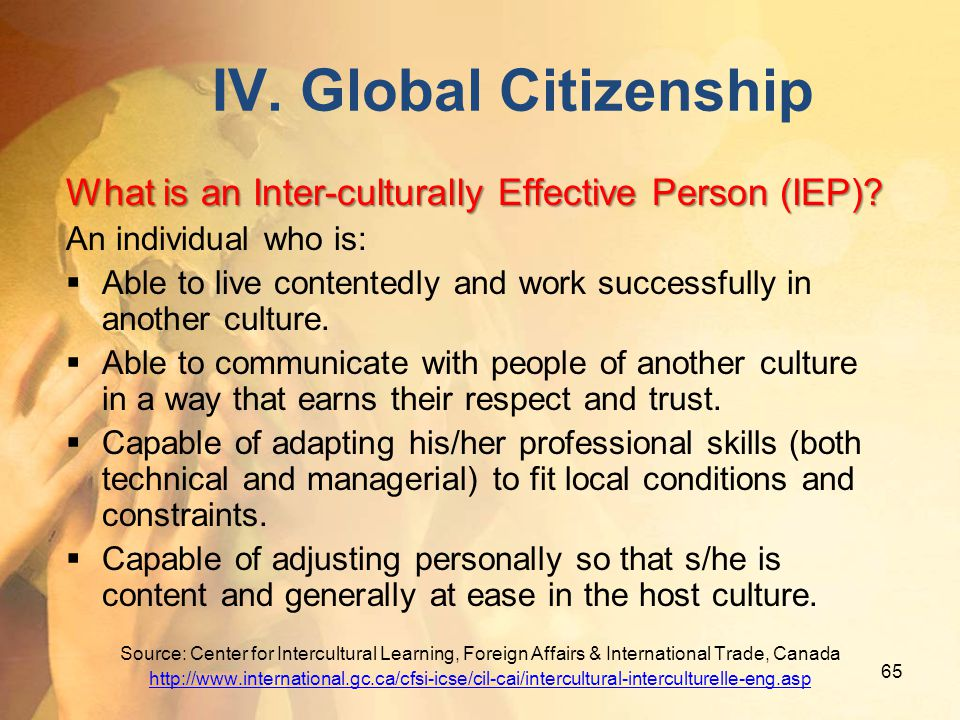 IV. Global Citizenship What is an Inter-culturally Effective Person (IEP) An individual who is: