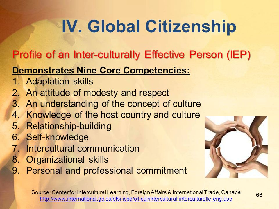 IV. Global Citizenship Profile of an Inter-culturally Effective Person (IEP) Demonstrates Nine Core Competencies: