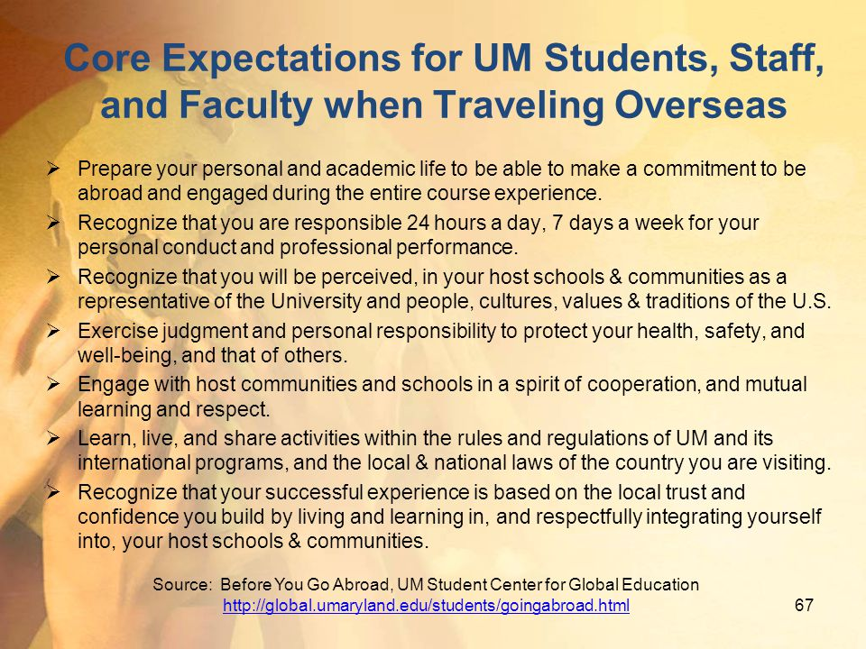 Core Expectations for UM Students, Staff, and Faculty when Traveling Overseas