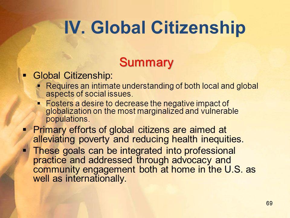 IV. Global Citizenship Summary Global Citizenship: