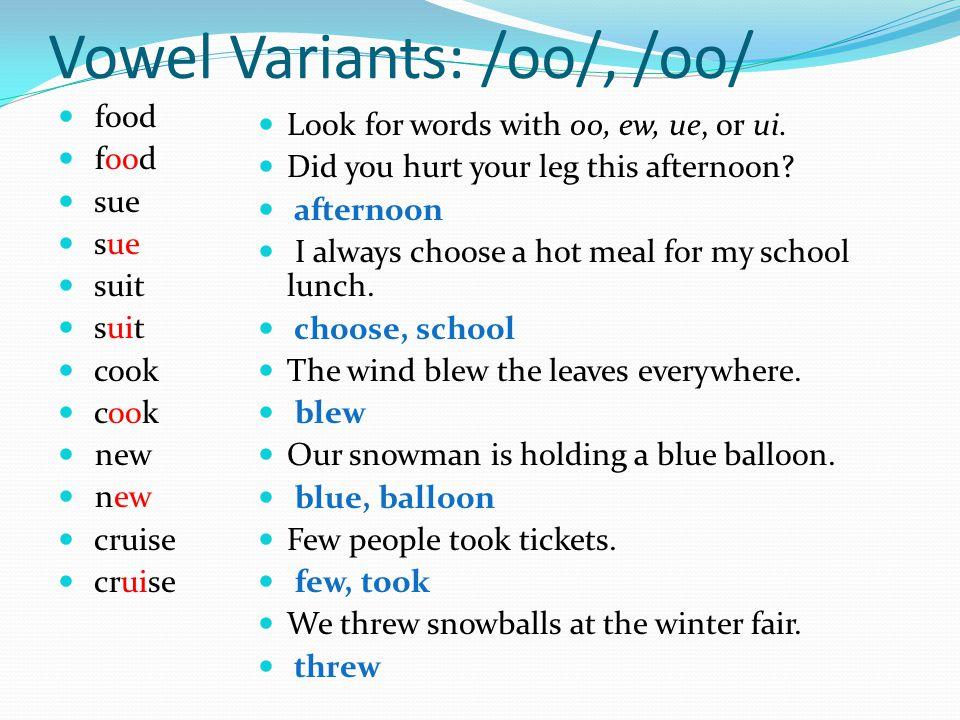 Vowel Variants: /oo/, /oo/