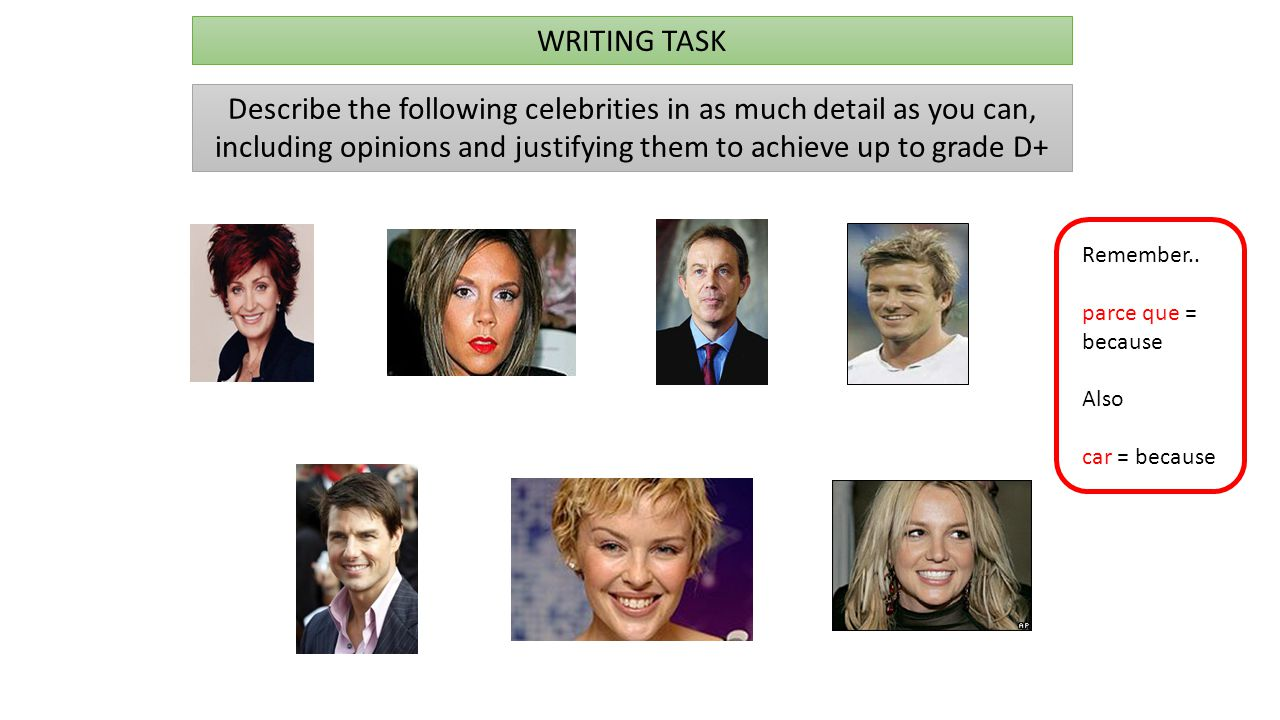 WRITING TASK Describe the following celebrities in as much detail as you can, including opinions and justifying them to achieve up to grade D+