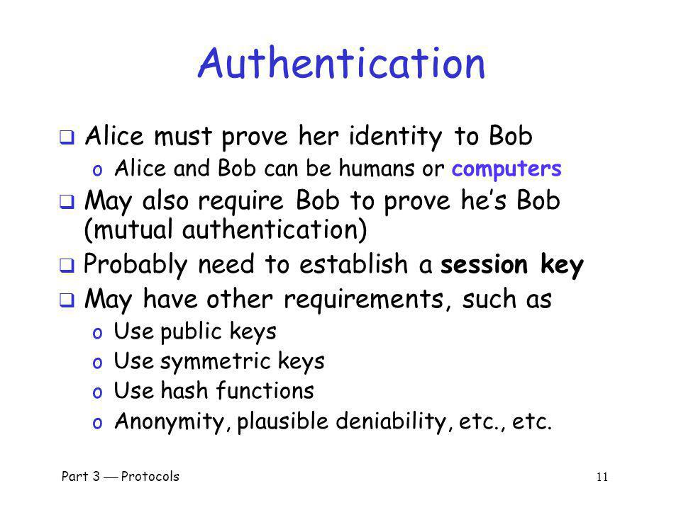 Authentication Alice must prove her identity to Bob