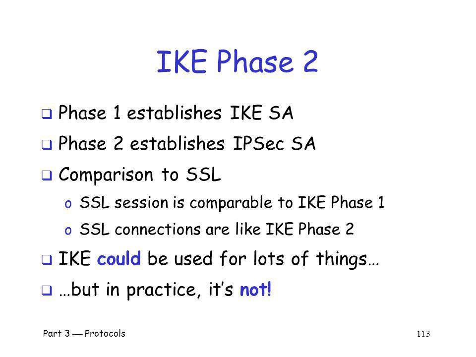 IKE Phase 2 Phase 1 establishes IKE SA Phase 2 establishes IPSec SA