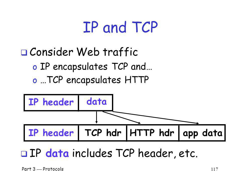 IP and TCP Consider Web traffic IP data includes TCP header, etc.