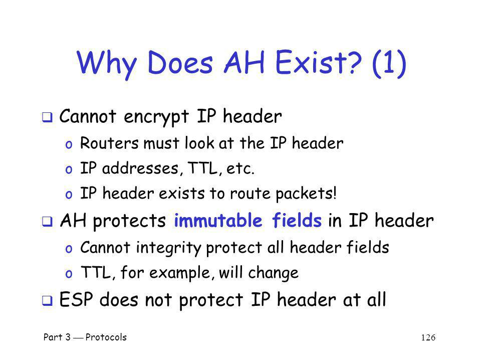 Why Does AH Exist (1) Cannot encrypt IP header
