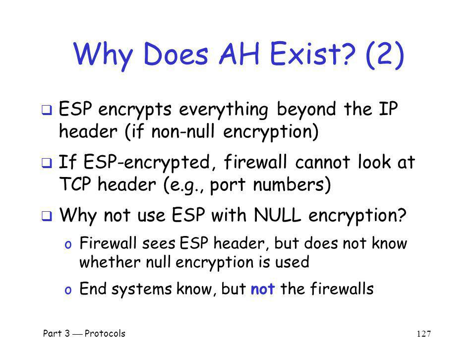 Why Does AH Exist (2) ESP encrypts everything beyond the IP header (if non-null encryption)
