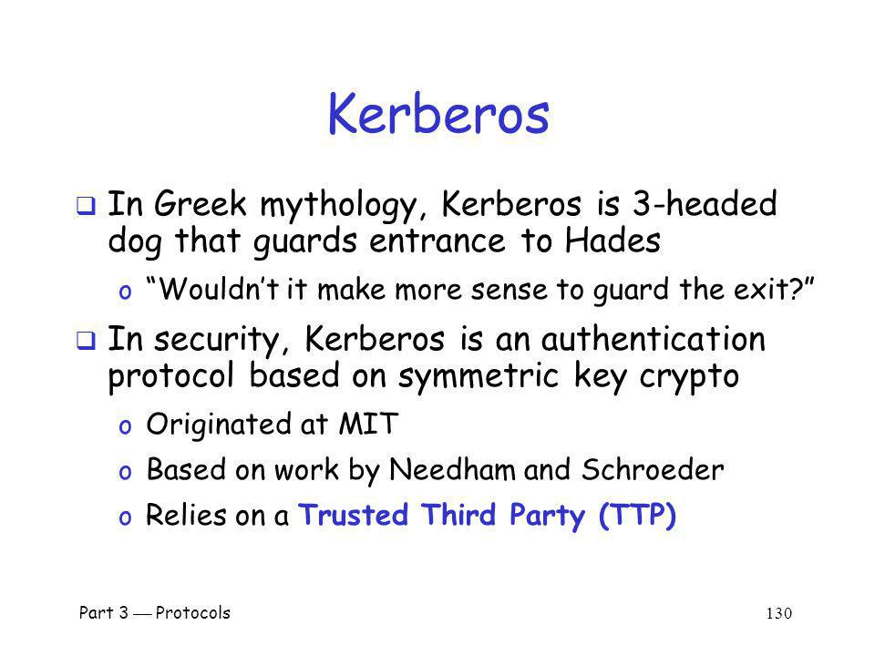 Kerberos In Greek mythology, Kerberos is 3-headed dog that guards entrance to Hades. Wouldn't it make more sense to guard the exit