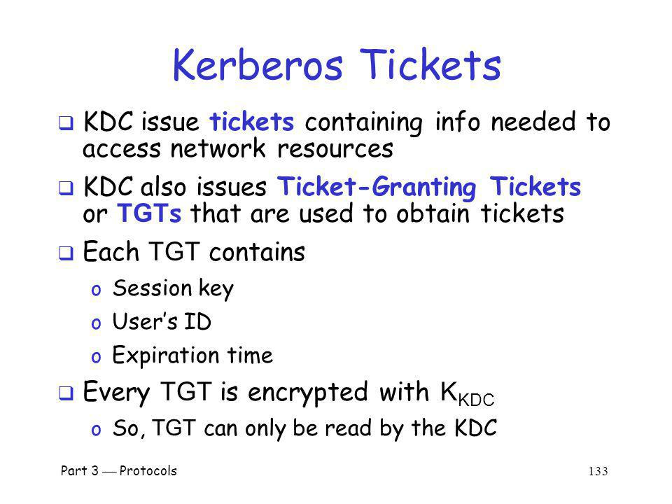 Kerberos Tickets KDC issue tickets containing info needed to access network resources.