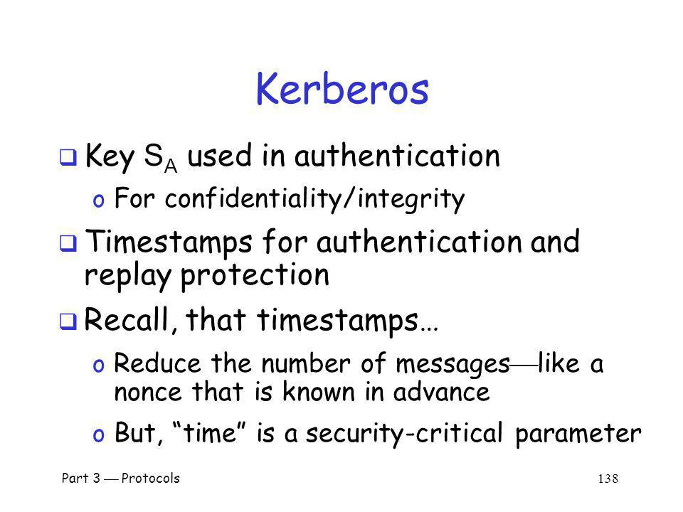 Kerberos Key SA used in authentication