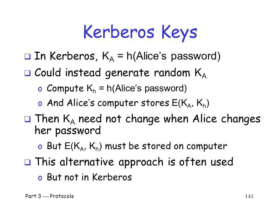 Kerberos Keys In Kerberos, KA = h(Alice's password)