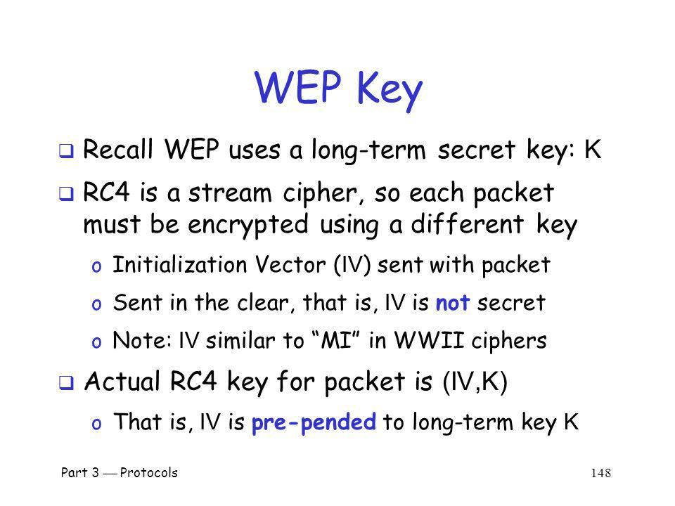 WEP Key Recall WEP uses a long-term secret key: K