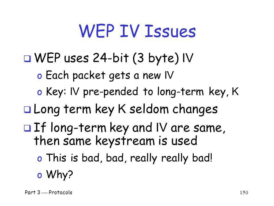 WEP IV Issues WEP uses 24-bit (3 byte) IV